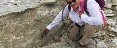 Alumni Janis Hernandez posed at the site of an earthquake near Ridgecrest.