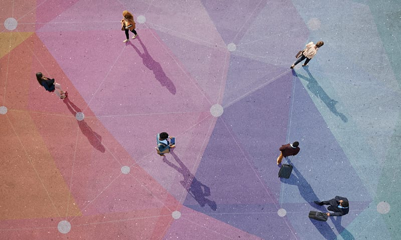 A decorative stock image of people walking