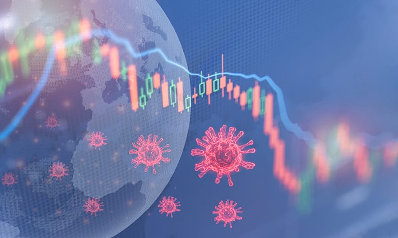 Decorative stock image of virus and data